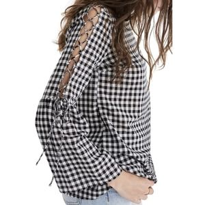 Madewell Gingham Lace-Up Bell Sleeve Top